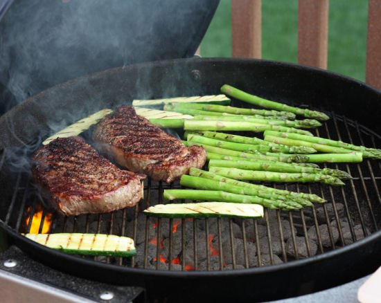Costco Ribeye Steaks on a charcoal grill