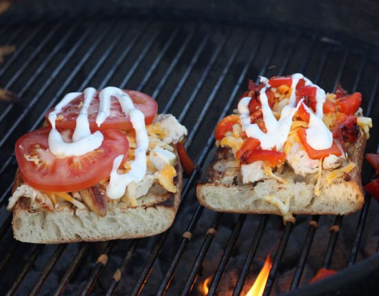 Chicken Bacon Ranch Paninis on the charcoal grill