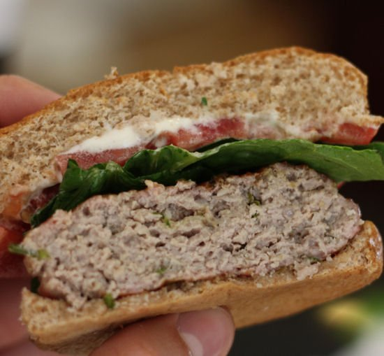 Ground Pork Burgers with Basil and Garlic
