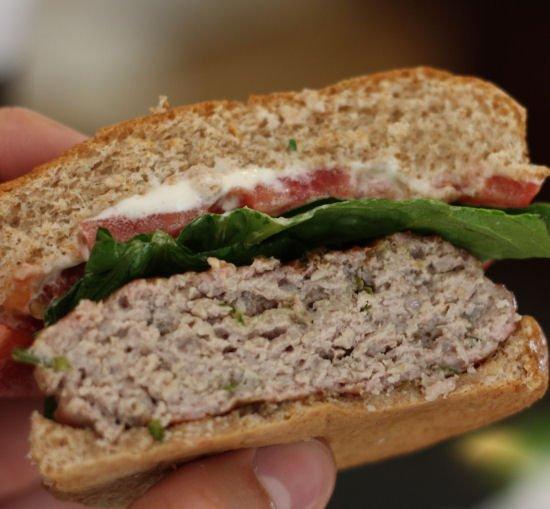 Ground Pork Burgers with Basil and Garlic