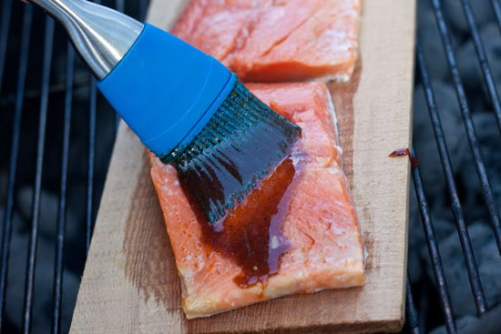 Planked Salmon with a spicy honey mustard glaze
