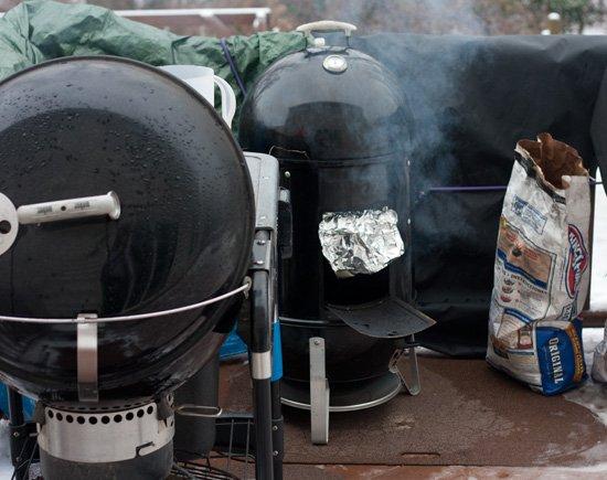 Smoking pork and brisket together