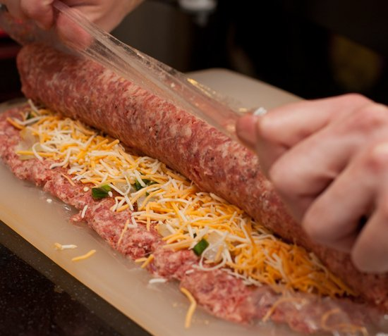 Rolling a BBQ Fatty - Bacon Explosion Recipe