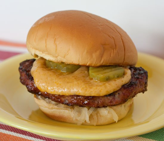 Beer cheese recipe for a double brat sandwich