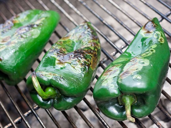 Grilling peppers for a green Chile sauce