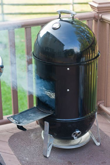 A loaded Weber Smokey Mountain BBQ Smoker - Grilling24x7