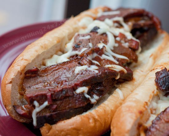 A good use for smoked BBQ brisket leftovers - Brisket Flat Subs