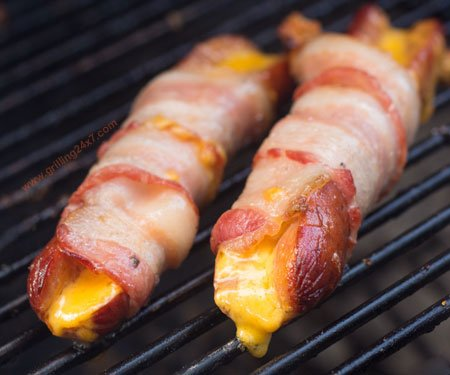 Bacon wrapped cheddar stuffed hotdogs