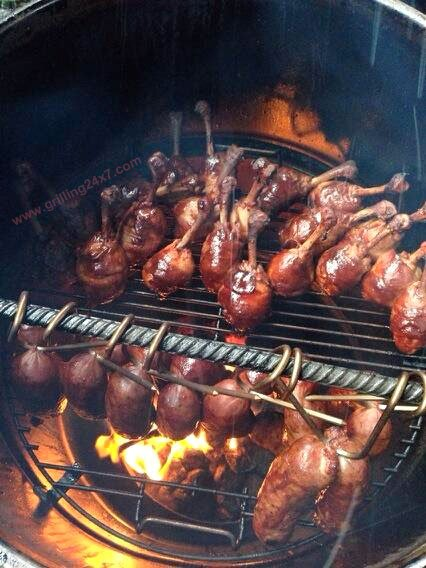 Best Tailgate Ever - smoked bacon wrapped chicken lollipops and smoked Kielbasa