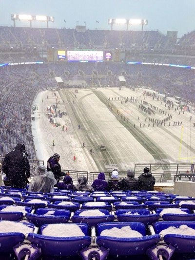 Snowing at a football game after the best tailgate ever