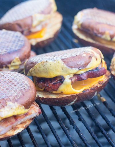 Grilled Ham Steak and Cheese on a Pretzel Roll - Grilling24x7
