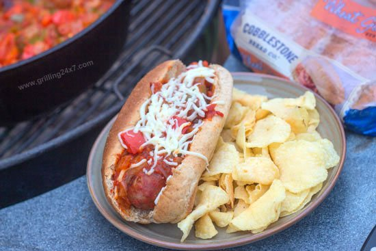 Grilled Bratwurst Subs with Marinara Sauce, Italian Peppers and Onions