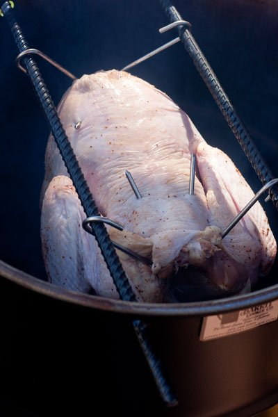 How to hook a turkey and cook it on the Pit Barrel Cooker - grilling24x7.com