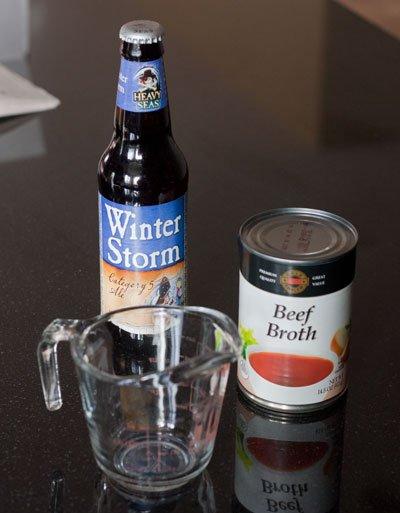 a beer bath for a brisket