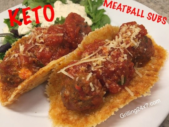 Keto meatball subs using provolone cheese a the bun - Please share on Pinterest