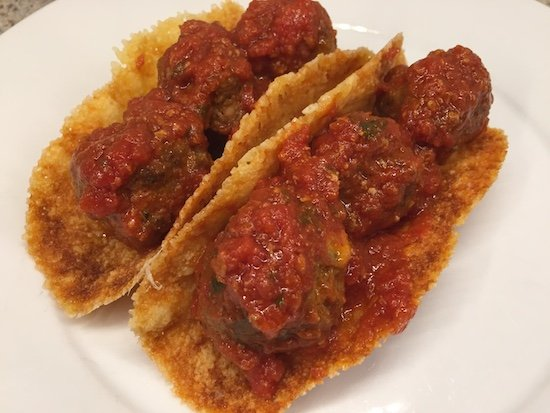 Keto meatball subs using provolone cheese a the bun